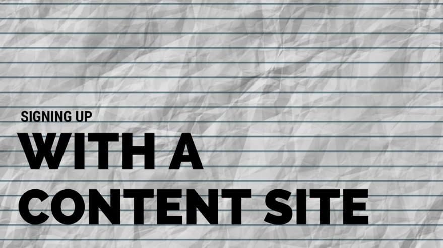 Signing Up with a Content Site
