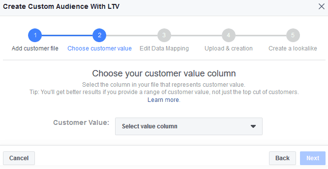 Choose Your Customer Value Column