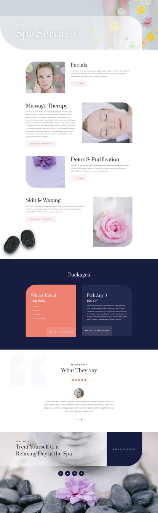 Day Spa Web Design 6