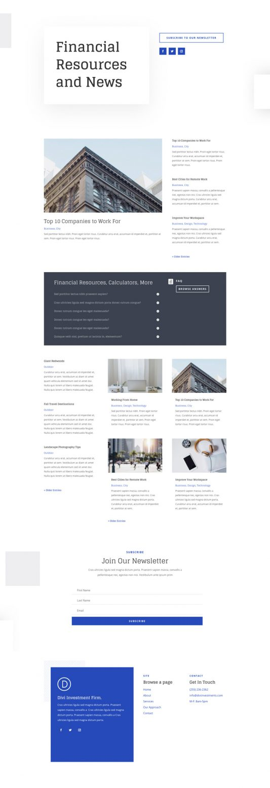 Investment Company Web Design 2